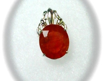 13x11mm Padparadscha Sapphire Gemstone in 925 Sterling Silver Pendant Necklace