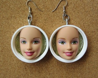 Upcycled green eyed Barbie doll face earrings - white caps