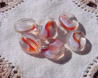 Lava Red Cream Givre Swirl Oval Vintage Glass Beads