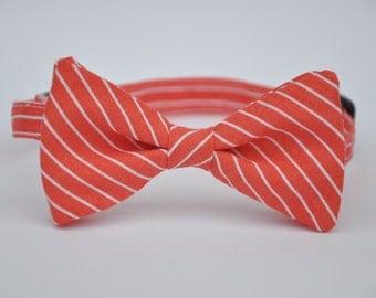 Coral Pinstripe Bow Tie Boy's Toddler Baby Bowtie