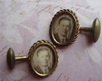 Vintage Art Deco Era Photographic Cufflinks of Gentleman With Stationary Bean Backs, Sepia Image of Man, Quaint and Collectible