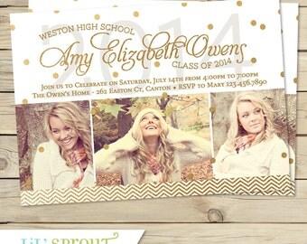 Modern Gold Confetti Graduation Announcement Invitation - Printable Invitation - PDF JPEG File - Print Your Own Grad Invitations