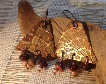 Etched Copper Earrings Zentangle design SRA  Catalina Glass
