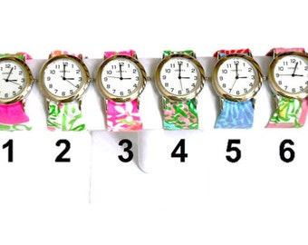 Silver Wristlet Watch Made from Your Choice of Lilly Pulitzer Fabric..Group 6