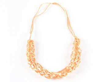 Peach 'knitted' satin cord necklace - short