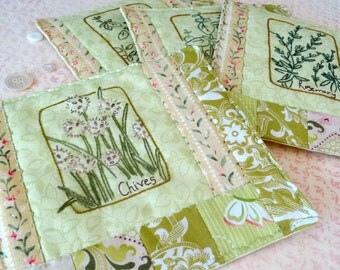 Kitchen Herbs Hand Embroidery Mug Rug Pattern Set PDF Instant Download