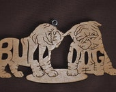 English Bulldog Puppies Dog Ornament Wooden Figure Decoration Hand Cut
