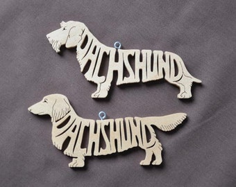 Long Haired or Wire Hair Dachshund  Ornament Wooden Hand Cut Christmas Tree Decoration