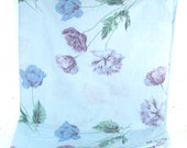 Vintage full flat sheet, baby blue with lavender tulips, large floral print