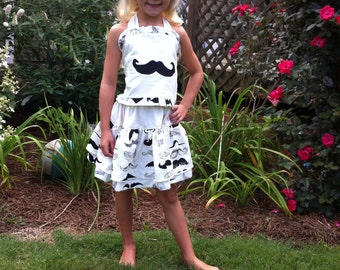 Custom back to school Mustache skirt set sz 2 3 4 5 6 7 Custom Boutique Pageant