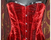 SALE Vintage Blood Red Velvet Steel Boned Corset Sz 20