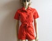 vintage 1970s utilitarian pocket romper ~ S / M