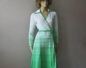 Vintage 70s Lacoste David Crystal wrap dress ~ S/M