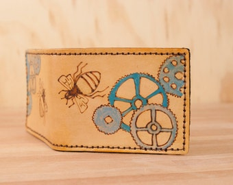 Geared Wallet - Leather bifold with bees and gears - Blues, gold and antique tan