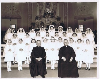 black and white.photograph.1950's.priest.confirmation.baptism.veils.historical.collectible.rare.wall hanging.art home deco.gift.religious