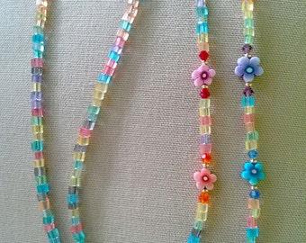 Rainbow, Crstals and Flowers Eyeglass Chain Handmade