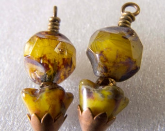 Czech Picasso Flowers, Czech Baroque Cut Glass Beads and Aged Brass Dangles Charms Drops Jewelry Components - 2