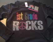 Any Grade School Rocks Shirt Rhinestone  - Back to School Shirt Kindergarten Rocks