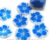 Royal blue Hibiscus, Hawaiian print, fimo nail art cane, 2-inch (5cm) long polymer clay cane, DIY, Miniatures, Scrapbooking, Made in USA