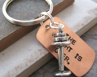 The Weight Is Over BARBELL Keychain, pewter barbell charm, dieting, weight loss, fitness, exercise, working out