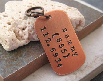 Personalized Pet Name Tag Tiny Copper Dog Tag, split ring included, customized by you, perfect for cats and dogs, pet id tag