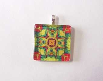 Glass Tile Pendant Necklace -  Kaleidoscope No. T-4