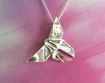 Silver Origami Butterfly Pendant