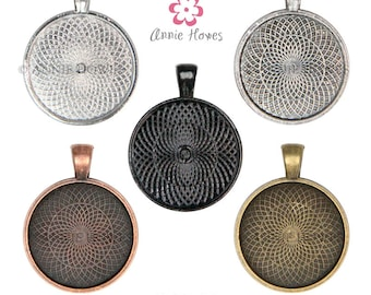 """1in Circle Bezel Pendant Tray with Textured Back. 25mm or 1"""". 25 Pack. Silver, Gold, Black, Copper Options. AH-153SC-25"""