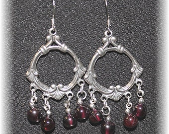 Exquisite Chandelier Earrings Sterling Silver and Garnet 814Chand03