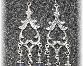 Sumptious Earrings Sterling Silver, Amethyst & Iolite Purple Gemstones 814Chand68