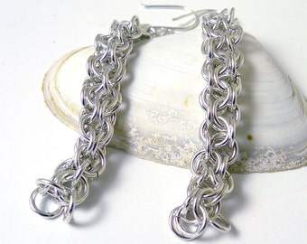 Sterling Silver Inverted Round Chainmaille Earrings