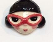 Cats Eye girl - ceramic brooch