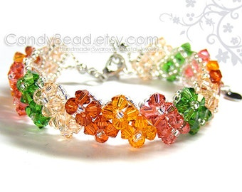 Swarovski Bracelet, Bright Corals Shade Crystals by CandyBead