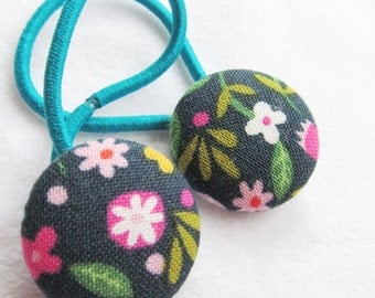 Ponytail holders - Whimsy Floral on Navy - fabric covered button hair ties