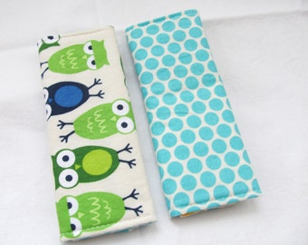 Reversible Car Seat Strap Covers - Owls in Bermuda - Seatbelt covers fit infant to adult seatbelts