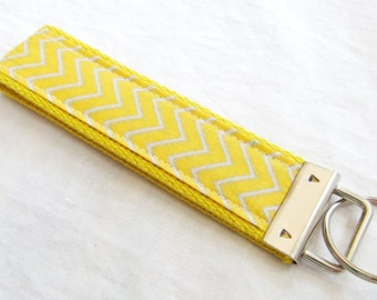 Wristlet Key Fob Key Chain - Mini Yellow and Gray Chevron Zig Zag Stripe - Fabric Keychain