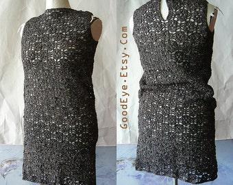 Vintage SHEER Metallic Sweater Dress / Gold Silver Black 1960s Shift / Hong Kong Stretch Crochet / Sleeveless BLING size 6 8 10