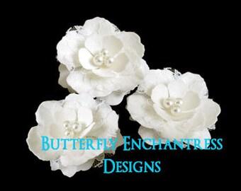 Ivory Lace Wedding, Bridal Hair, Woodland Wedding - 3 Pearl Lace Elizabeth Blossom Hair Combs