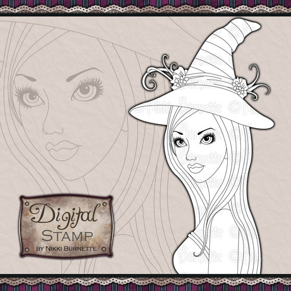 Digital Stamp - Printable Coloring Page - Fantasy Art - Witch Stamp - Esme - by Nikki Burnette - COMMERCIAL USE