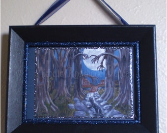 limited edition framed print spooky dark hollow woods art wall hanging Halloween decoration black cat woodland forest painting