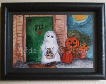 Halloween original framed art wall hanging decoration watercolor painting print ghost Trick or Treater