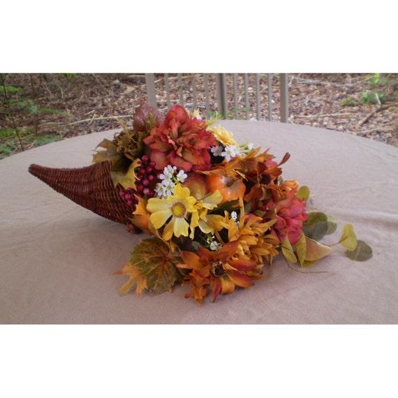 Thanksgiving floral centerpiece cornucopia flower arrangement horn of plenty autumn flowers home decor
