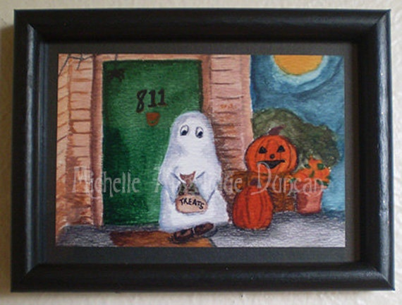 Ghost 5x7 framed print original watercolor painting Halloween art wall hanging home decor