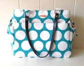 Expandable Tote in Aqua Dot