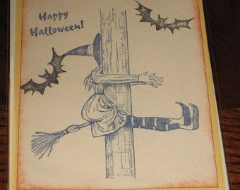 Halloween Greeting Card Note Card With Witch and Bats