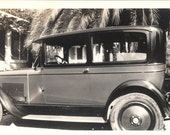 vintage photo Miss Nancy Nash Car Automobline in Driveway Calif home