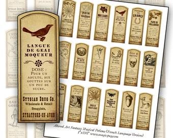 FRENCH VERSION Fantasy Magic Potion Labels digital collage sheet 18 labels En Français