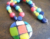 Color Wheel Mother of Pearl Glass and Acrylic Beaded necklace