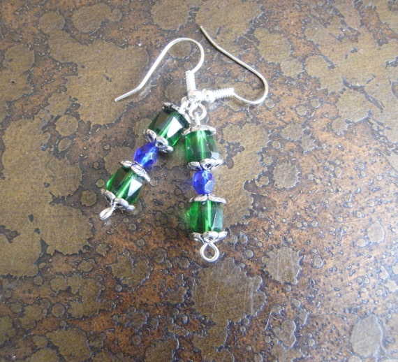 Emerald Extravagance Fire Czech Glass Beaded earrings
