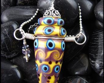 Beadworx - Lampwork Perfume Vessel Bottle Pendant - Kanika